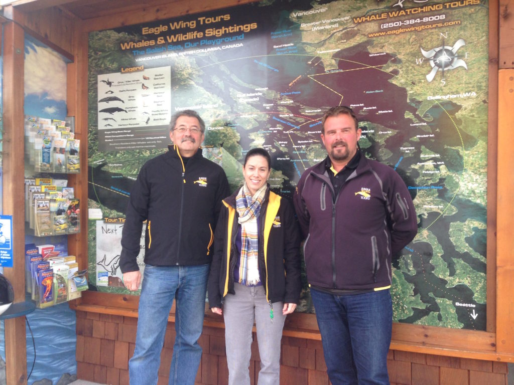 Eagle Wing Tours team Wayne Nowak, Mika, and Brett Soberg, Captain and Co-Owner