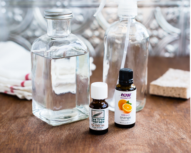 They only use eco-friendly cleaning supplies, either purchased or homeade, such as the vinegar + tea tree oil sanitizer (Photo credit: Hello Glow)